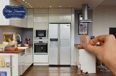 Miniature World Lady frills: miniature fridge / refrigerator Handmade 1:12