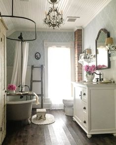The clouds have finally lifted and the sun is shining. Its a gorgeous Sunday afternoon on Bryarton Farm! All of this rain has made the Bathroom Red, Chic Bathrooms, Cottage Bathrooms, Master Bathroom, Vintage Farmhouse Decor, Country Farmhouse Decor, Bathroom Pictures, Bathroom Ideas, Up House