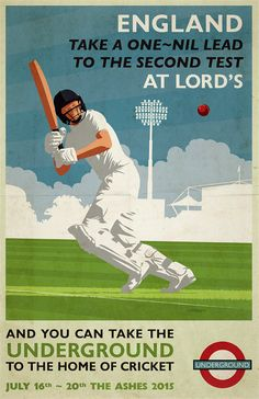 Vintage Cricket Poster Pastiche | 2015 Ashes Series | The Second Test at Lord's by DadManCat