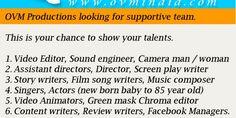 OVM Productions looking for supportive team