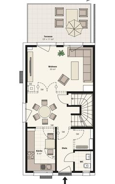 Doppelhaus Sinus | INTERHOMES AG Small Floor Plans, Small House Plans, House Layout Plans, House Layouts, Bungalow, Tiny House, Villa, Construction, Flooring
