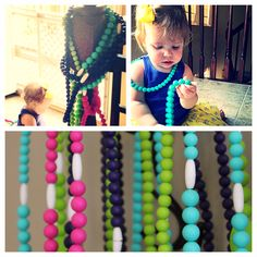 Convertible and interchangeable teething necklace converts to smaller necklace and bracelet at the same time!!! Comes with attachment to connect to strollers pacifiers car seats and much more.  http://chrissyhanna83.wix.com/changeablechewables