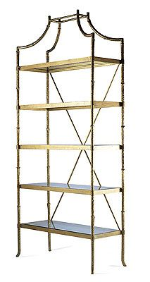 Highland House Furniture: HH07-723-GA - Golden Regency Metal Bamboo Etagere
