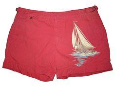 Polo Ralph Lauren Nantucket Red Sailing Boat Beach Swim Surf Shorts Trunks 34 #PoloRalphLauren #Trunks