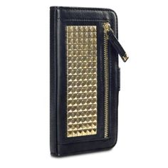 Samsung Galaxy S6 Case, Terrapin Trendy [Studded] Samsung Galaxy S6 Wallet [Black] Zipper PU Leather Case for Samsung Galaxy S6 - Black