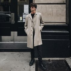 2dd720bc3d74 Model Marc Forne brings British style to New York in his Aquascutum Trench  Coat Mens Raincoat