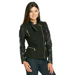 BCBGeneration™ Short Wool Asymmetrical Zip Moto with Faux Leather at www.bonton.com Leather Sleeves, Leather Jacket, Women's Coats, Bcbgeneration, Coats For Women, Wool, Zip, My Style, Jackets