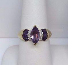 10K YELLOW GOLD 10 X 5 MM MARQUISE PURPLE AMETHYST DIAMOND RING SIZE 8