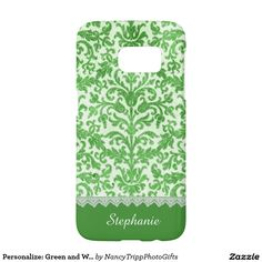Personalize: Green and White Damask and Lace Samsung Galaxy S7 Case