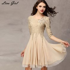 Liva Girl Korean Lace Summer Solid Color Casual O-Neck Dresses Women Knee-Length Vintage 2017 High Quality