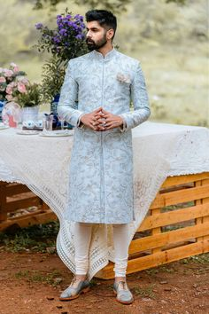 Shop Anushree Reddy - Men Embroidered Sherwani Set , Exclusive Indian Designer Latest Collections Available at Aza Fashions Indian Wedding Suits Men, Indian Wedding Clothes For Men, Sherwani For Men Wedding, Mens Indian Wear, Mens Ethnic Wear, Indian Men Fashion, Indian Wedding Outfits, Groom Fashion, Wedding Outfits For Men