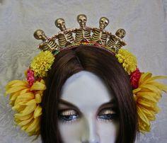 Los Soldados: Skull Crown Tiara Day of the Dead by MorticiaSnow