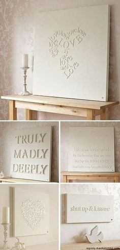 Glue tiny wooden letters onto a canvas and spray p