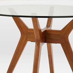 Jensen Round Table GlassWalnut Spaces Pinterest Round Glass - West elm round glass dining table