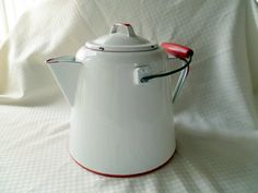 Large Vintage Red and White Enamel Coffee Pot.