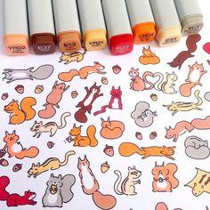 Happy #squirrel #doodle  #squirrels are my dad's favorite animals  So I doodled…