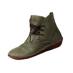 Mordenmiss Women's Leather Short Boots New Shoes Style 1-Green 37 -- Details can be found by clicking on the image.