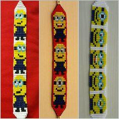 #zeynepatalay #Tezgahdokuma #Minions #glassbeads #handmade #bracelet #bileklik. Loom Bracelet Patterns, Seed Bead Patterns, Bead Loom Bracelets, Jewelry Patterns, Beading Patterns, Beading For Kids, Bead Jewellery, Loom Beading, Bead Weaving
