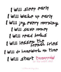 I Will Sleep Early