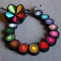Felt necklace and brooch Kanzashi multicolour