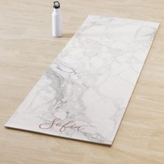 PixDezines White Marble  Blush Rose Veins Yoga Mat