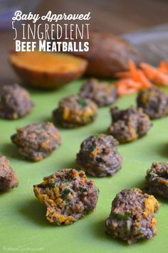 Beef Recipe For Baby, Beef Recipe Toddler, Toddler Meals, Kids Meals, Toddler Food, Beef Meatball Recipe, Smashed Sweet Potatoes, Ground Beef Meatballs, Fingerfood Baby