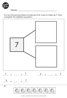 Printable worksheets cut out worksheets : free number bonds worksheet. Number Bonds Worksheets, Free Math Worksheets, Kindergarten Math Worksheets, Literacy Activities, Math 2, Math Teacher, Printable Worksheets, Preschool Songs, Free Preschool
