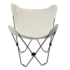 Natural White Butterfly Chair With Black Frame