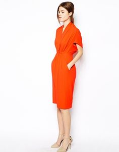Image 1 ofASOS Pencil Dress In Crepe With V Neck