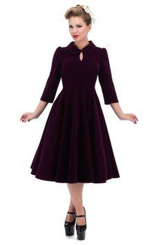 85ad627dbf77 Glamorous Dark Purple Velvet 50 s Tea Dress Purple Velvet Dress