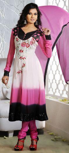 Gorgeous Pink and White Faux Georgette Anarkali Salwar Kameez-IG6383 at IndianGarb