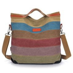 2016 Fashion Women Stripe Handbag Canvas Shoulder Bag Messenger Crossbody Bags Satchel Hit Color Striped Casual Tote Hot Sale
