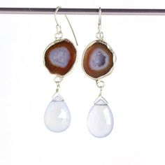 Baby Geode Earrings with Lavender Chalcedony Briolettes