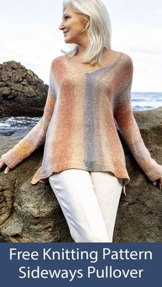 Free Sweater Knitting Pattern Sideways Pullover Jumper - V-neck pullover knit sideways in stockinette with sleeves knit on. Great showcase for gradient or ombre yarn. Sizes: 36/38 (40/42, 44/46). Fingering weight yarn. Designed by Lana Grossa. Sweater Knitting Patterns, Knitting Yarn, Free Knitting, Crochet Fall, Knit Crochet, Ombre Yarn, Dress Gloves, Stockinette, Knit Jacket