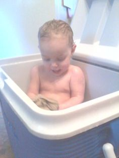 Camping  bath--glad to see I'm not the only mum that ever did this--LOL! Just FYI--it works very well.