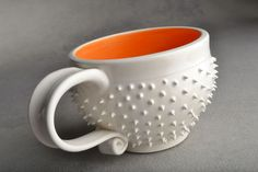 Spiky Mugs Made To Order Pair of White and by symmetricalpottery, $38.00