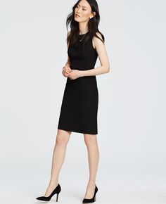 """Style it up. Style it down. The most versatile piece in your wardrobe is this modern sheath, designed in our endlessly flattering all-season stretch fabric. Jewel neck. Sleeveless. Front empire seam. Hidden back zipper with hook-and-eye closure. Back vent. Lined. 21"""" from natural waist."""