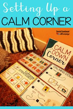 A calm corner are great tools in the classroom to improve student self regulation, manage behavior, and build social emotional skills. Self Regulation Strategies, Emotional Regulation, Calming Activities, Sensory Activities, Sensory Tools, Calm Classroom, Classroom Ideas, Future Classroom, Classroom Organization