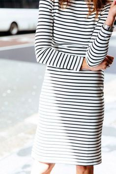 Striped long sleeve dresses — the easiest look to pull of this season.