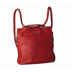 Gabee Soft Leather Convertible Shoulder Bag/Backpack: Red - $169.00 #travelbag #backpack