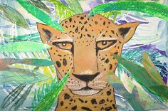 Jaguar collage using watercolor, oil & chalk pastels, construction paper and brown grocery bags.