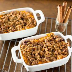 Sweet Potato Casserole with Butter & Brown Sugar glazed Pecan Streusel.