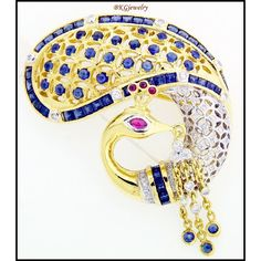 18K Yellow Gold Swan Brooch/Pin Natural Blue Sapphire by BKGjewels
