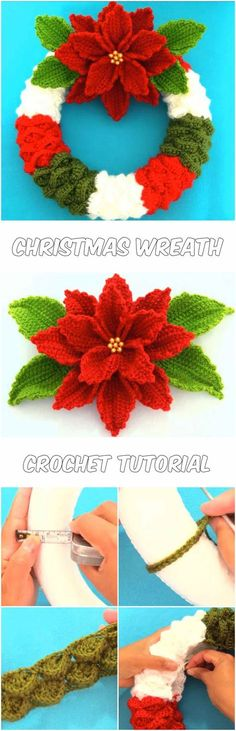 Ideas knitting christmas decorations crochet wreath for 2019 Knitted Christmas Decorations, Crochet Christmas Wreath, Crochet Wreath, Christmas Tree Wreath, Xmas Wreaths, Holiday Crochet, Noel Christmas, Christmas Knitting, Crochet Gifts