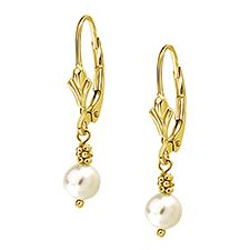 14K Yellow Gold Earrings with Freshwater Pearls