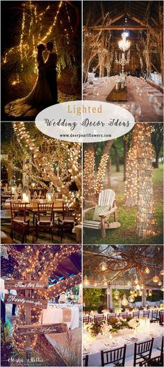 rustic country lighted tree and branches wedding decor #weddings #weddingideas #countryweddings