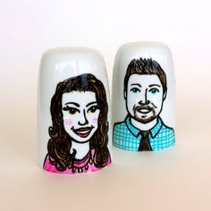 Custom Portrait Salt & Pepper Shakers Ceramic Hand Painted Wedding Couple Memento Personalized Anniversary Gift Illustration - Made to Order