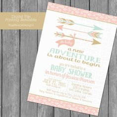 Pink Gold and Mint adventure themed girl baby shower invitation by BlueFenceDesigns.  Features a forest or woodland theme with arrows.  A New Adventure.