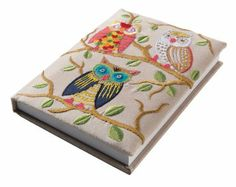 Owl Embroidered Large Notebook Fair trade: Amazon.co.uk: Office Products
