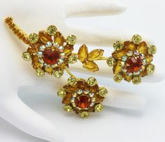 Juliana Flower Brooch Topaz and Gold by HeirloomBandB on Etsy, $75.00